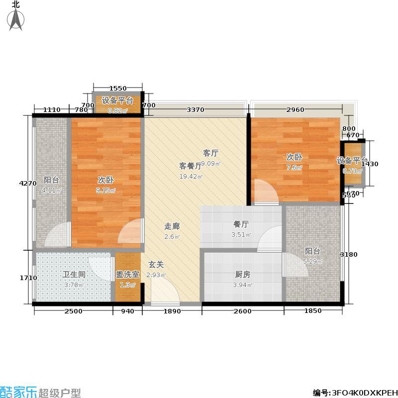 保利林语溪65.00㎡一期16栋标准层A户型