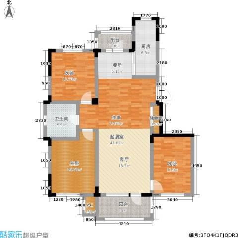 中海御湖熙谷3室0厅1卫1厨117.00㎡户型图