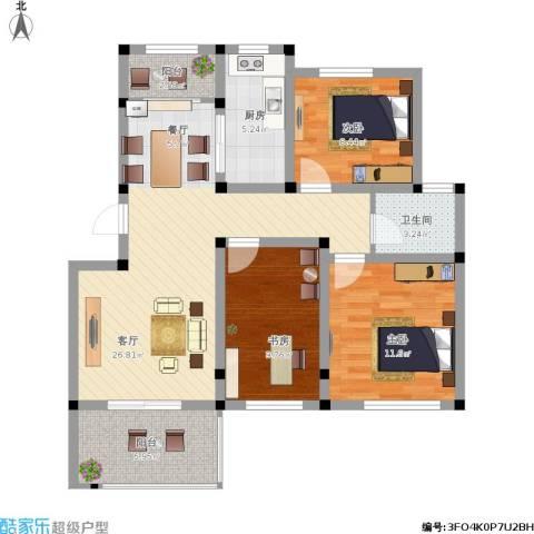 重汽翡翠东郡3室1厅1卫1厨108.00㎡户型图