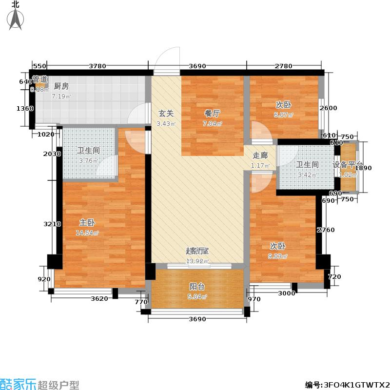 盛天新界88.00㎡2/3号楼2单元02号房B33室户型