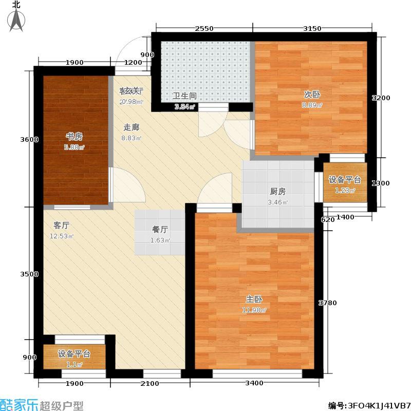 象博豪庭89.42㎡二期小高层标准C户型3室1厅
