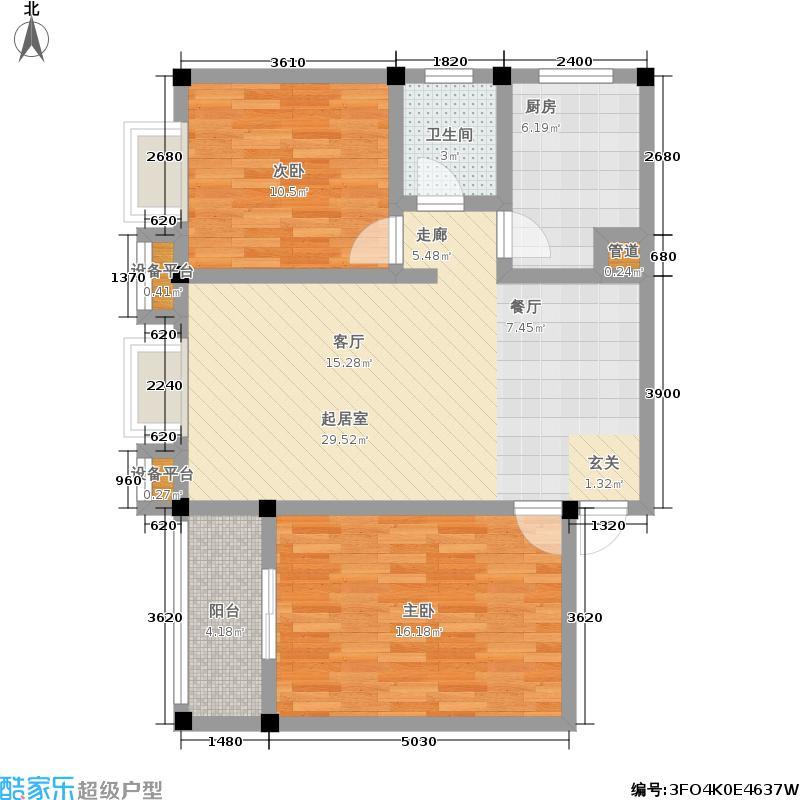 雄飞翰林书院86.47㎡四期7、9、11号楼标准层A3户型