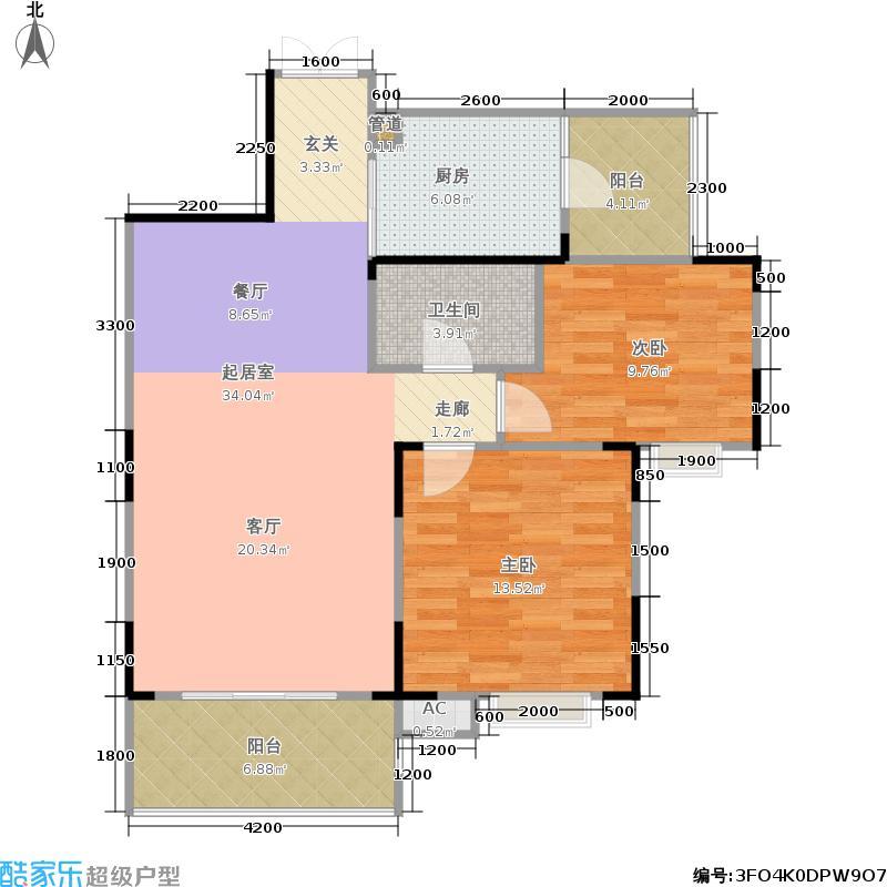 金地金沙府邸90.00㎡一期8栋标准层A2/A2'户型