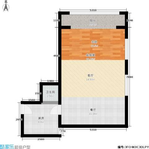 新城市广场1卫1厨58.00㎡户型图
