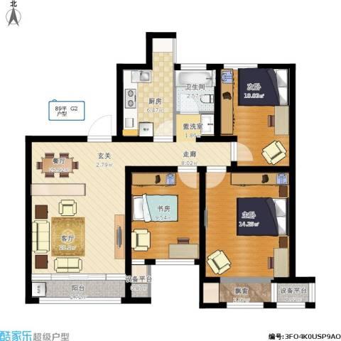 印象欧洲3室1厅1卫1厨111.00㎡户型图
