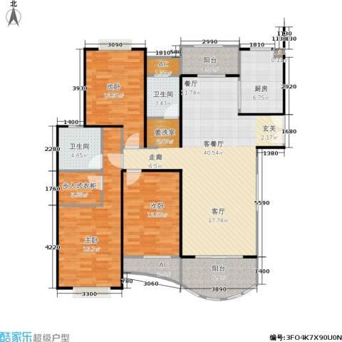 海德卫城3室1厅2卫1厨125.00㎡户型图