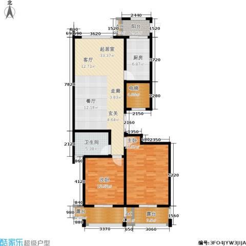 乌桥水岸花园2室0厅1卫1厨107.00㎡户型图