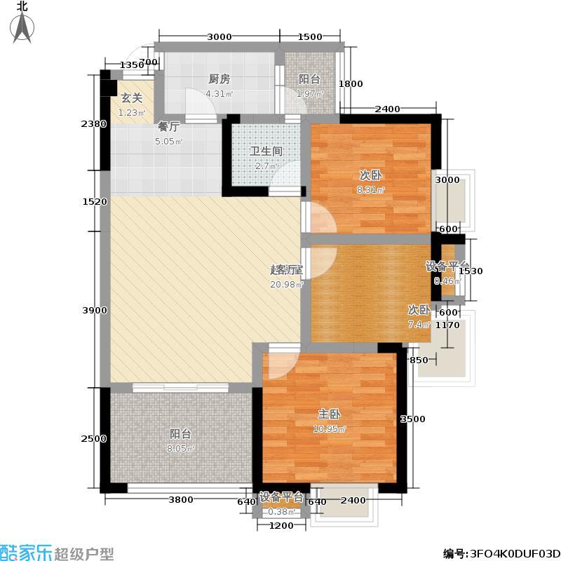 地铁首座88.99㎡三期15号楼标准层F2户型
