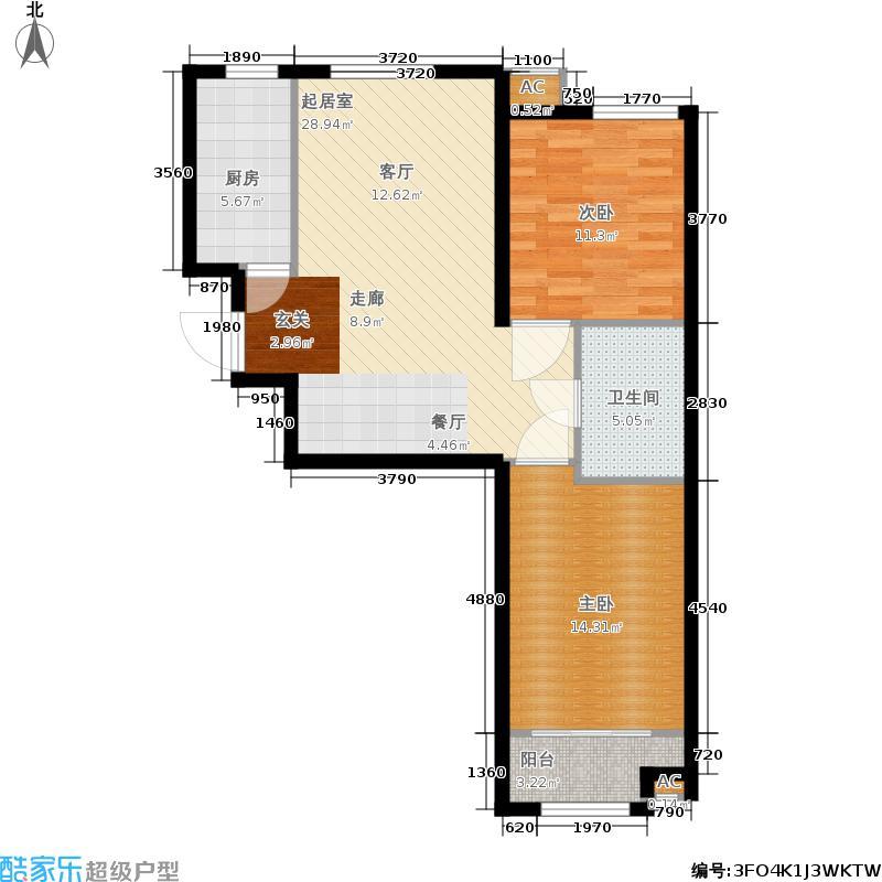 和泓四季恋城75.00㎡一期洋房标准层D3户型2室2厅