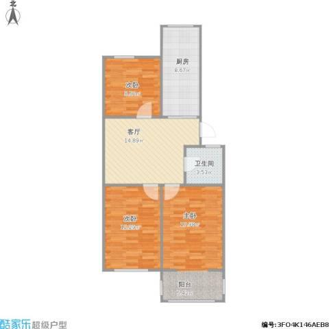 洪庙巷小区3室1厅1卫1厨89.00㎡户型图