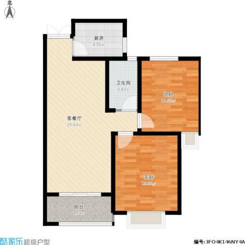 淮矿馥邦天下2室1厅1卫1厨88.00㎡户型图