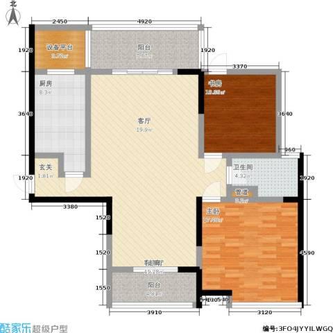 长江峰景2室1厅1卫1厨115.00㎡户型图