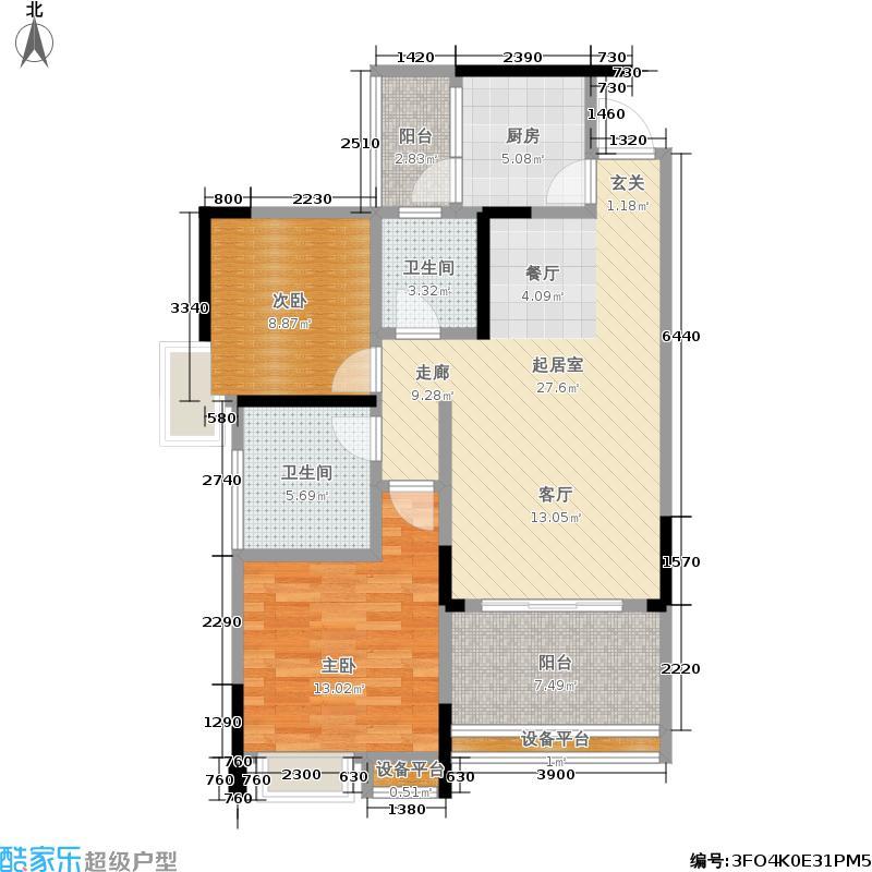 凤凰傲城85.00㎡一期1号楼标准层B3户型
