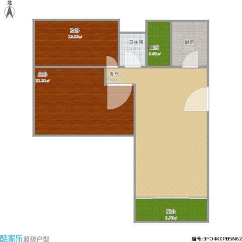 丰润花园2室1厅1卫1厨120.00㎡户型图