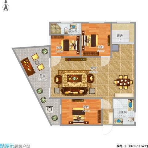 嘉华大厦3室1厅2卫1厨87.00㎡户型图