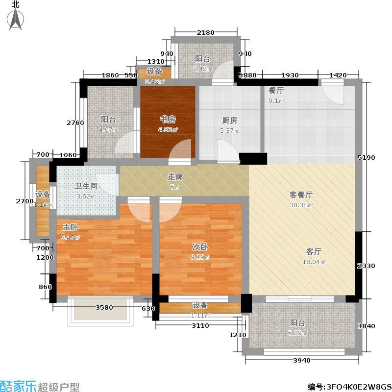 前锋空港国际93.00㎡一期4号楼标准层D3户型