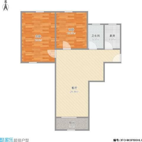 万荣小区2室1厅1卫1厨84.00㎡户型图