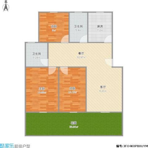 桃浦新家园3室1厅2卫1厨143.00㎡户型图