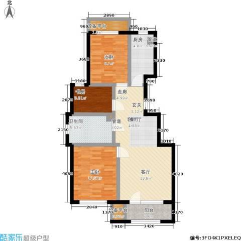 首开香溪郡3室1厅1卫1厨80.00㎡户型图