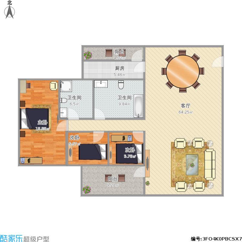 棕榈假日115平方A2户型3房2厅