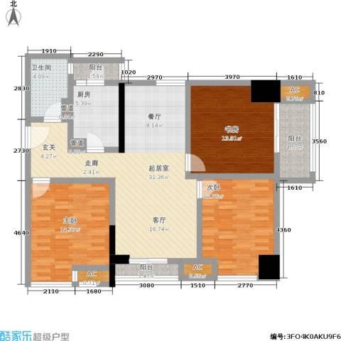 曼城国际3室0厅1卫1厨112.00㎡户型图