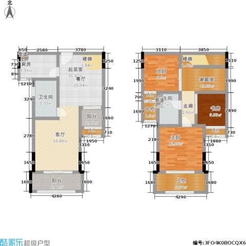 曼城国际3室0厅2卫1厨124.00㎡户型图