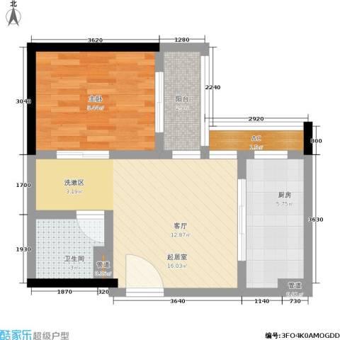 曼城国际1室0厅1卫1厨47.00㎡户型图