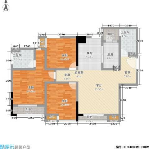 曼城国际3室0厅2卫1厨123.00㎡户型图