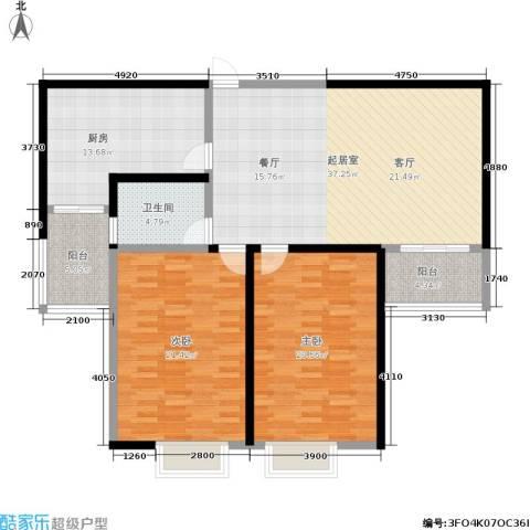 捷瑞公园首府2室0厅1卫1厨107.09㎡户型图