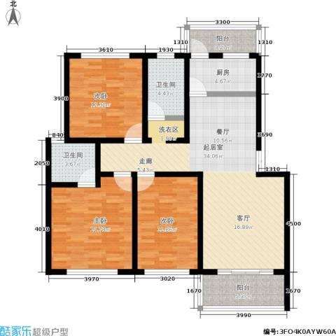 水岸林语3室0厅2卫1厨96.00㎡户型图