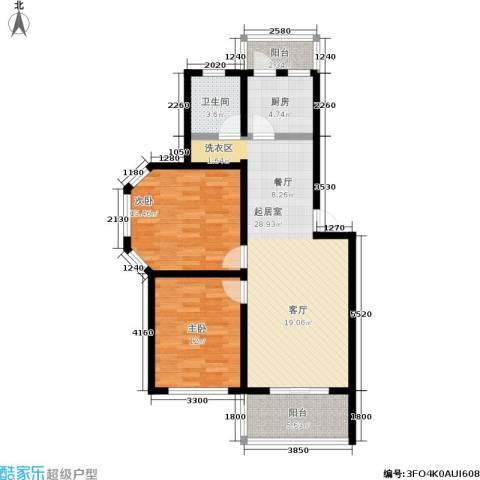 水岸林语2室0厅1卫1厨83.00㎡户型图
