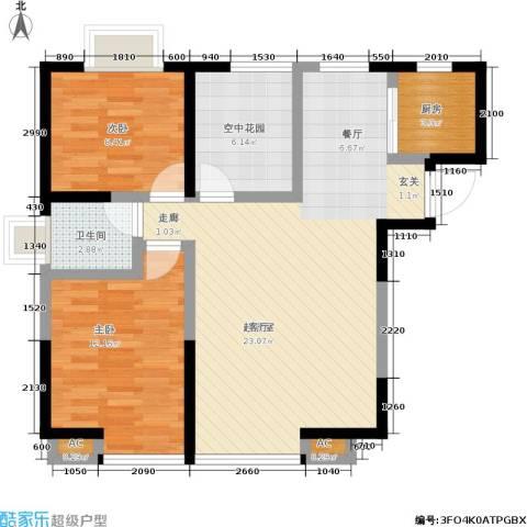 海棠别馆2室0厅1卫1厨75.40㎡户型图