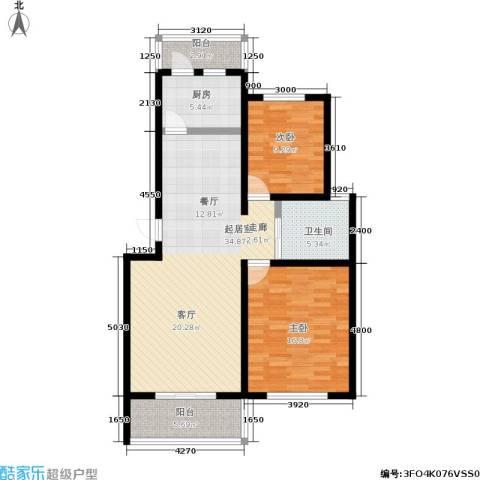 水岸林语2室0厅1卫1厨80.34㎡户型图