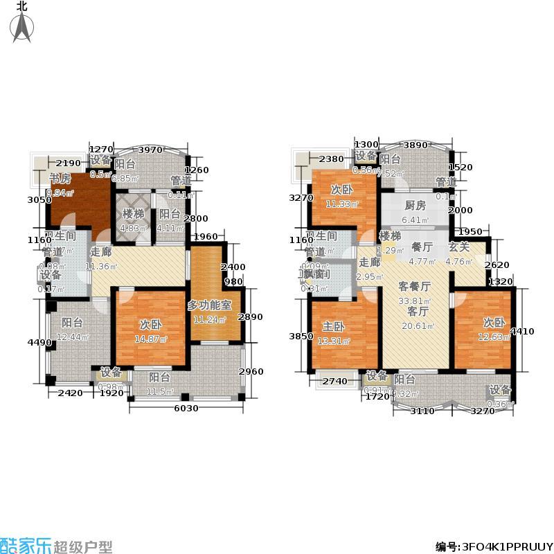 凤凰景苑240.00㎡复式H户型5室3厅
