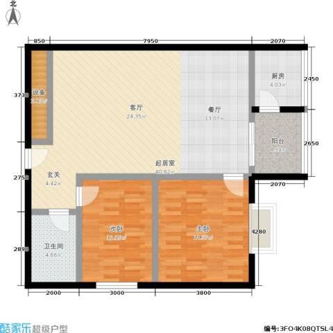 捷瑞公园首府2室0厅1卫1厨93.00㎡户型图
