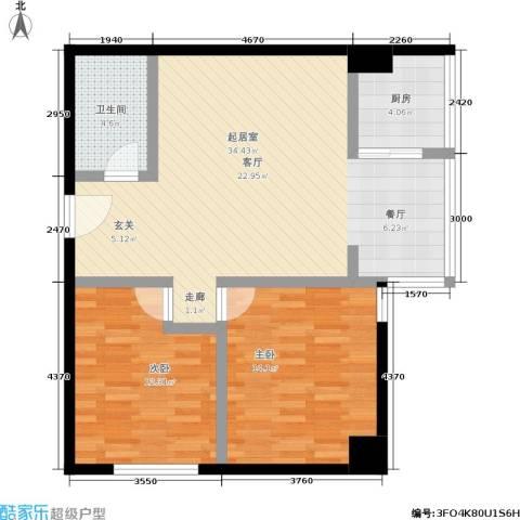 捷瑞公园首府2室0厅1卫1厨79.00㎡户型图