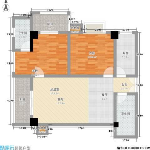 丽苑1682室0厅2卫1厨88.00㎡户型图