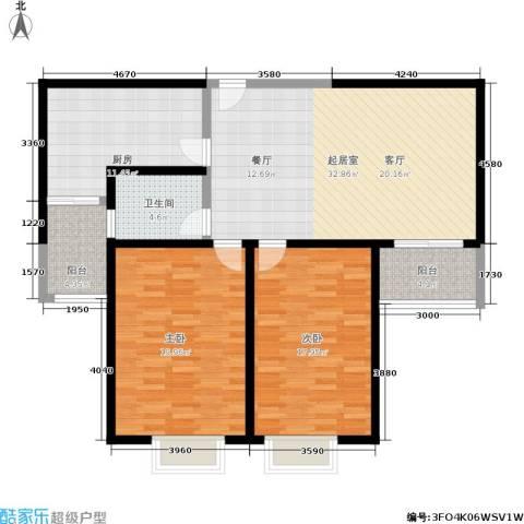 捷瑞公园首府2室0厅1卫1厨108.00㎡户型图