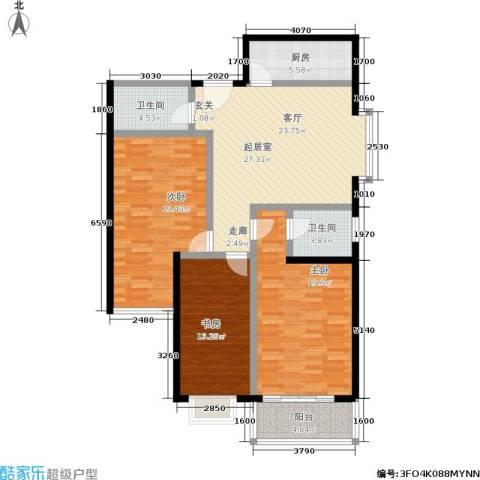 中菲香槟城3室0厅2卫1厨113.00㎡户型图