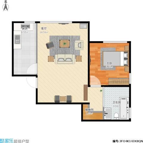 住总众邦·长安生活港1室1厅1卫1厨62.00㎡户型图