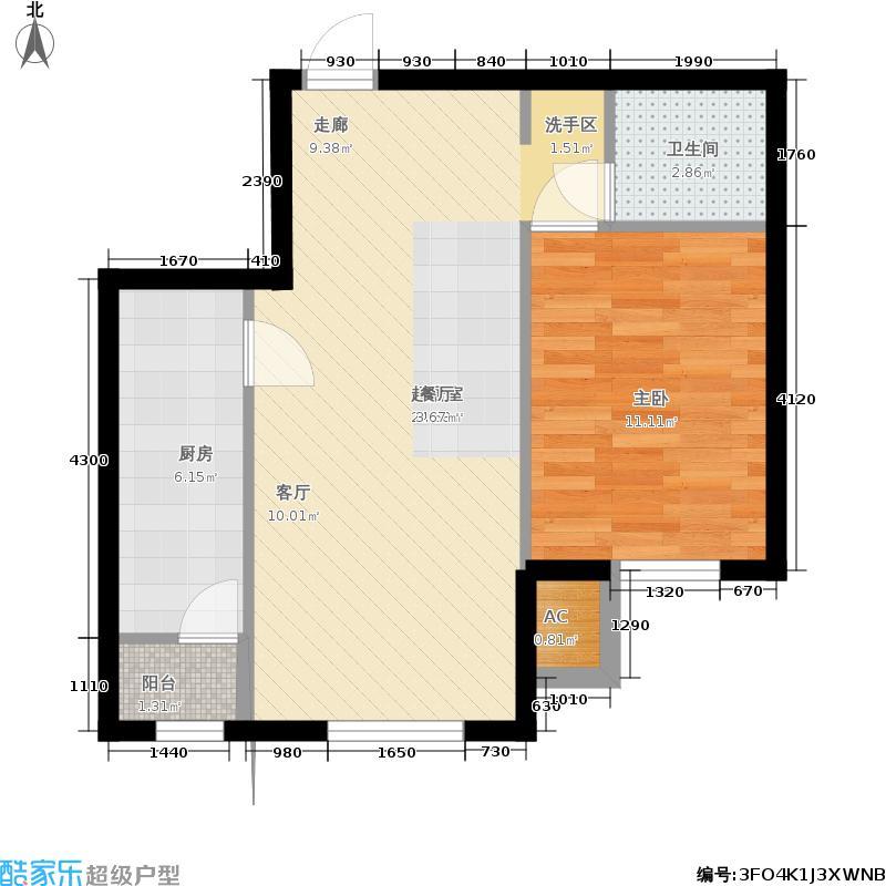 和泓四季恋城59.00㎡一期洋房标准层D2户型1室1厅