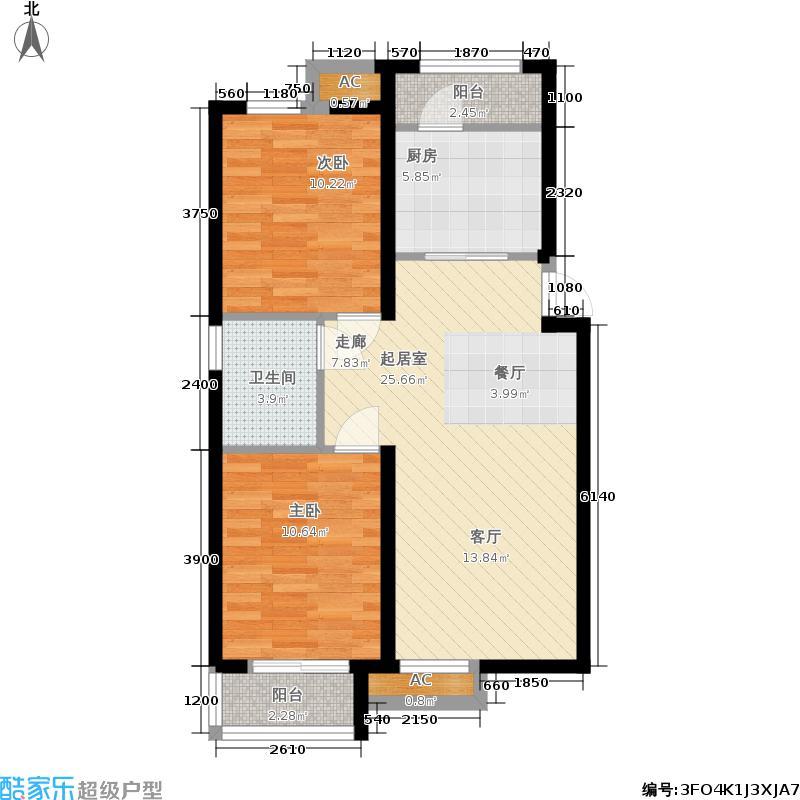 和泓四季恋城82.61㎡一期洋房标准层F3户型2室2厅