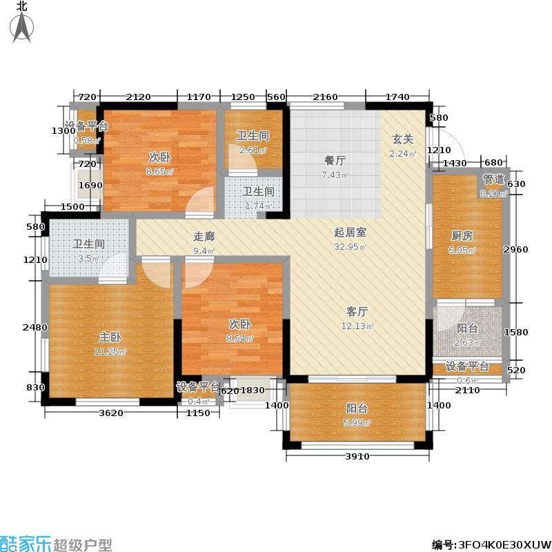 西江河畔111.81㎡1期4号楼标准层C1户型