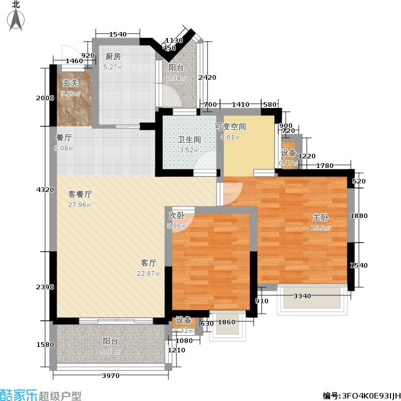 上东国际87.40㎡一期1#楼标准层D户型