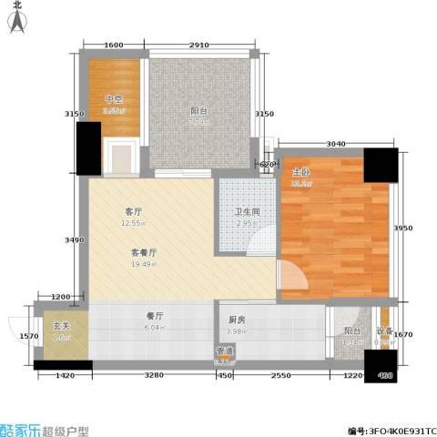 天地自由星城1室1厅1卫1厨63.00㎡户型图