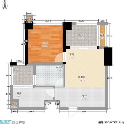 天地自由星城1室1厅1卫1厨52.00㎡户型图
