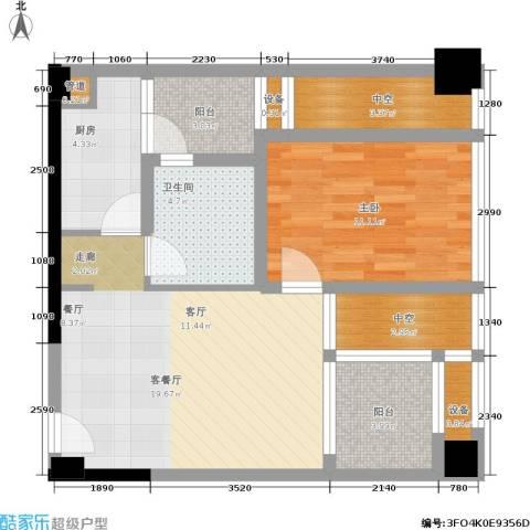 天地自由星城1室1厅1卫1厨64.00㎡户型图