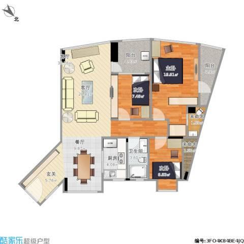 城东名门3室1厅1卫1厨123.00㎡户型图