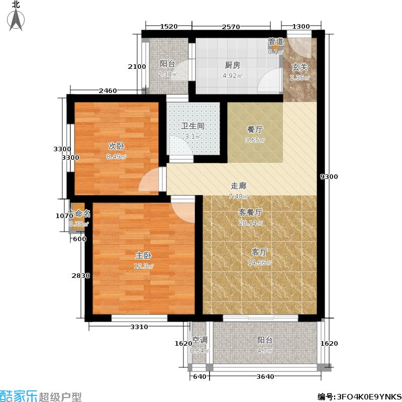 长河郡81.37㎡三期4、6、8、9号楼标准层a1户型