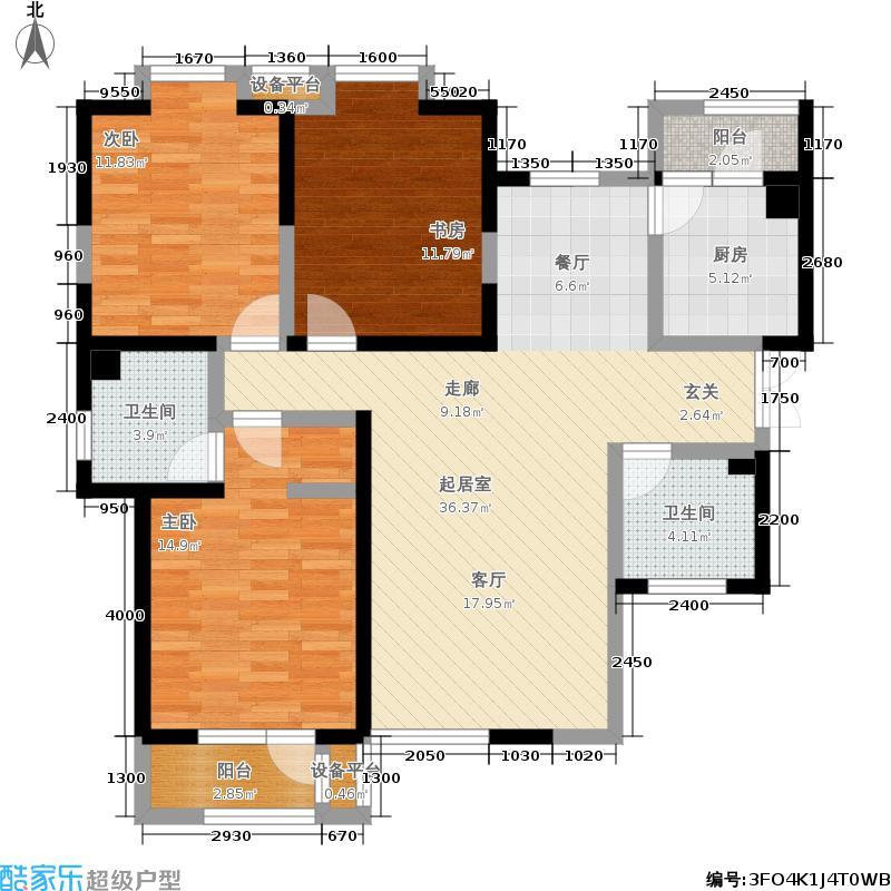 观锦137.02㎡高层标准层5A户型3室2厅